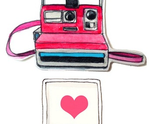 camera, heart, and polaroid image