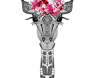 giraffe, wallpaper, and flowers image