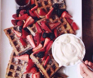 cream, food, and strawberry image
