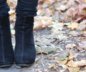 fall, leaves, and shoes image