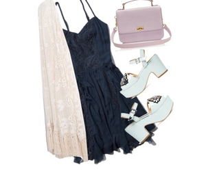 blue dress, outfit, and outfits image