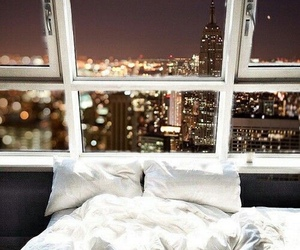 city, bed, and bedroom image
