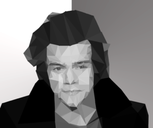 black and white, triangle, and one direction image