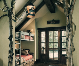 bed, lodge, and room image