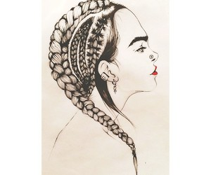 black, braid, and drawing image