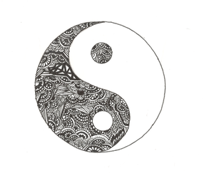 black and white, ying yang, and black image
