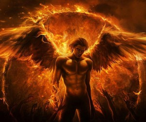 angel, fire, and wings image