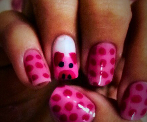 nails, pink, and pig image