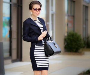 chic, business professional, and striped dress image