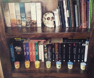 books, boy, and candles image