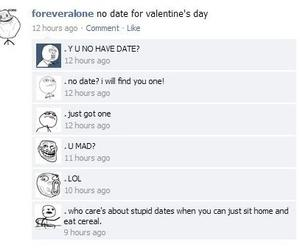 forever alone, lol, and cereal guy image