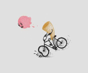 ice cream, bike, and funny image