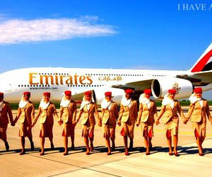 air hostess, emirates, and stewardess image