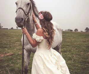 horse, dress, and flowers image