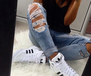 adidas, denim, and tanned image