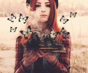 girl, butterfly, and book image