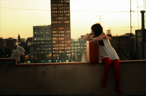 city, girl, and rooftop image