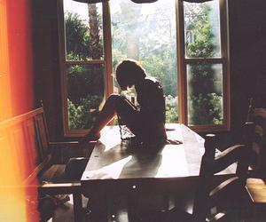 girl, table, and window image
