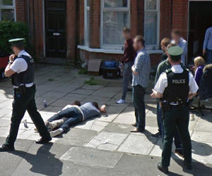 drunk, passed out, and google street view image