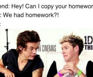 homework, niall horan, and Harry Styles image
