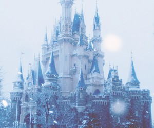 castle, snow, and disney image