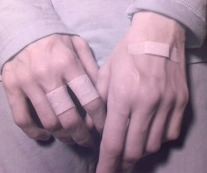 band-aids, hands, and pale image