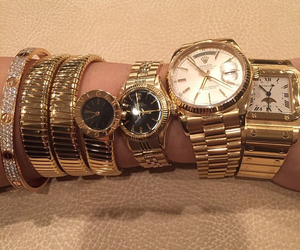 gold, watch, and luxury image