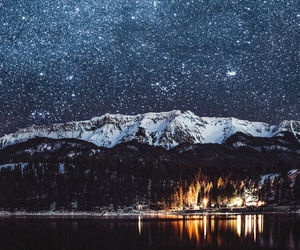mountains, stars, and lake image
