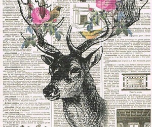 art, deer, and flowers image