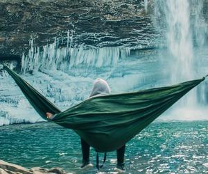 waterfall, travel, and hammock image