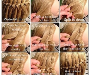 diy, waterfall braid, and hairstyle image