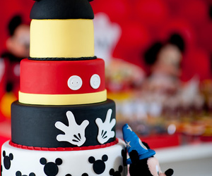 cake, mickey, and mickey mouse image