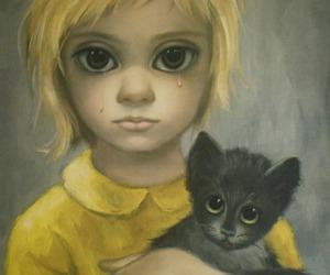 big eyes, art, and cat image