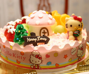 cake, hello kitty, and house image