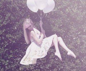girl, balloons, and dress image