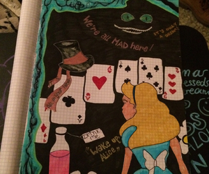 alice, alice in wonderland, and cards image