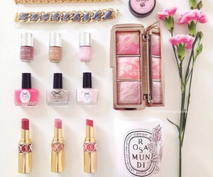 makeup, lipstick, and flowers image