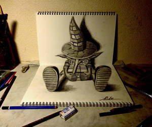art, drawing, and 3d drawing image