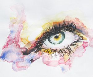 art, eyes, and watercolour image