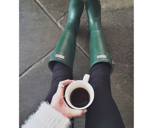 beauty, coffee, and hunter boots image