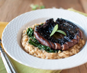 food, risotto, and spinach image