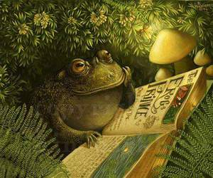 book, frog, and reading image