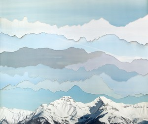 art, mountains, and blue image