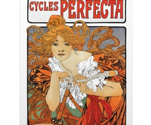 bicycle, red hair, and long hair image