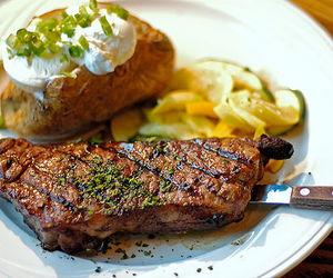 food, steak, and potato image