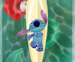 ariel, surfboard, and stitch image