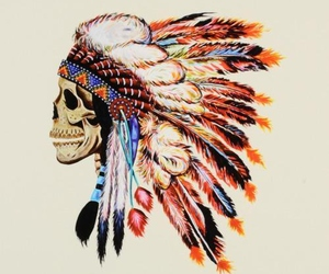skull, indian, and art image
