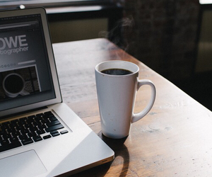 coffee, laptop, and cafe image