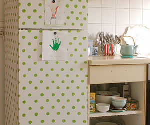 fridge, polka dot, and kitchen image