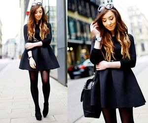 black dress, booties, and class image